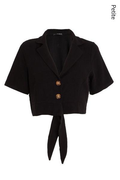 Petite Black Cropped Tie Shirt